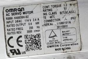 Omron AC SERVO MOTOR R88M-K40030H-S2